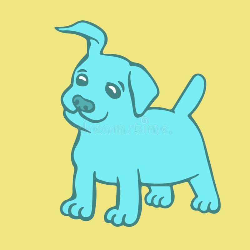 逗人喜爱的蓝色小狗 也corel凹道例证向量 皇族释放例证