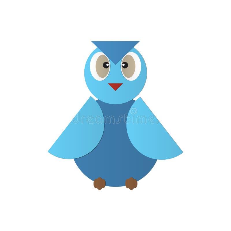 逗人喜爱的蓝色您的猫头鹰传染媒介象例证geomatic设计,商标,网站,社会媒介,流动app,例证 皇族释放例证