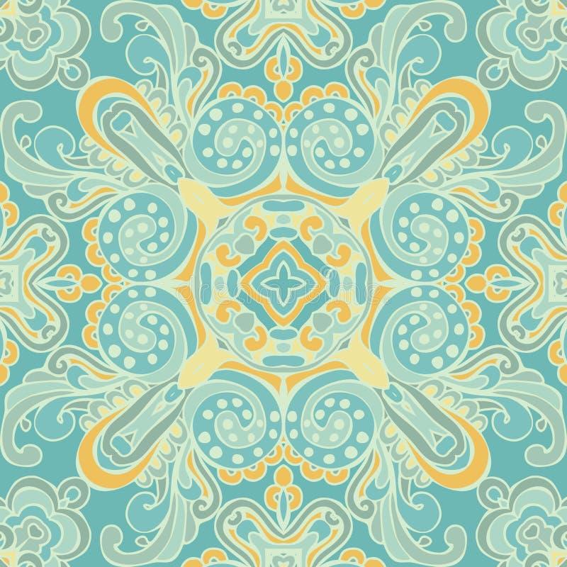 逗人喜爱的蓝色无缝的抽象铺磁砖的样式传染媒介 库存例证