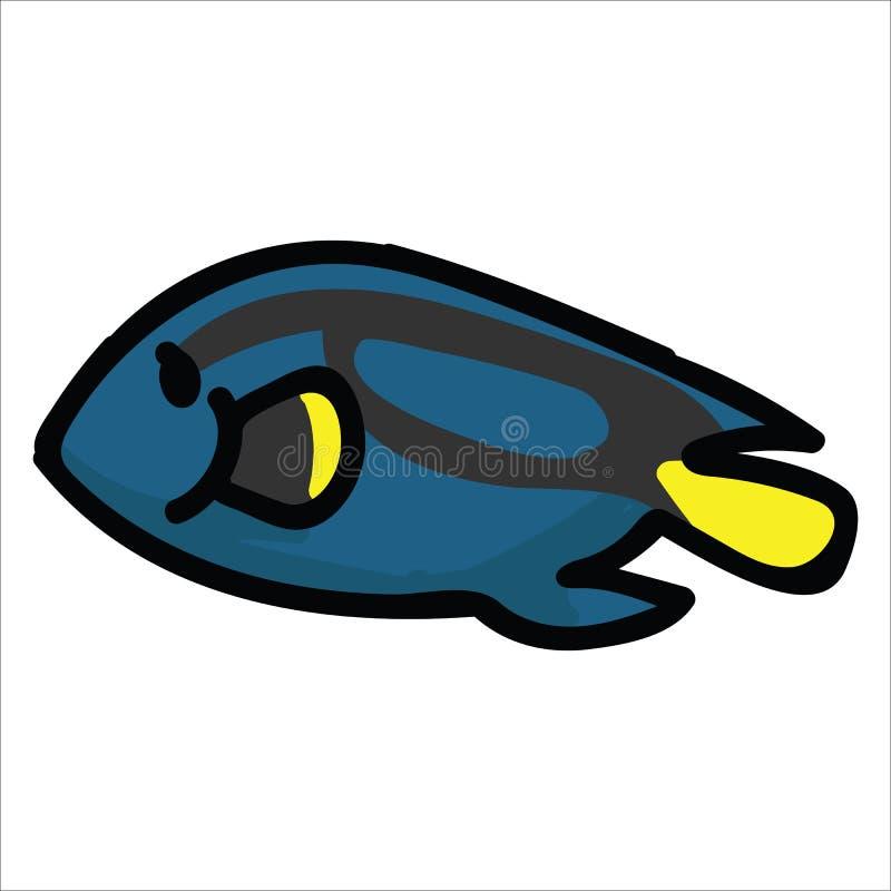 逗人喜爱的蓝色特性动画片传染媒介例证主题集合 水生生活博克的手拉的被隔绝的外科医生鱼元素clipart, 库存例证