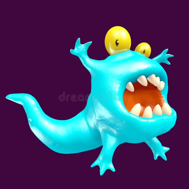 逗人喜爱的蓝色蝌蚪妖怪 3d例证 库存例证