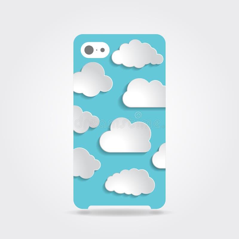 逗人喜爱的蓝色覆盖在电话盒后面的汇集例证 向量例证