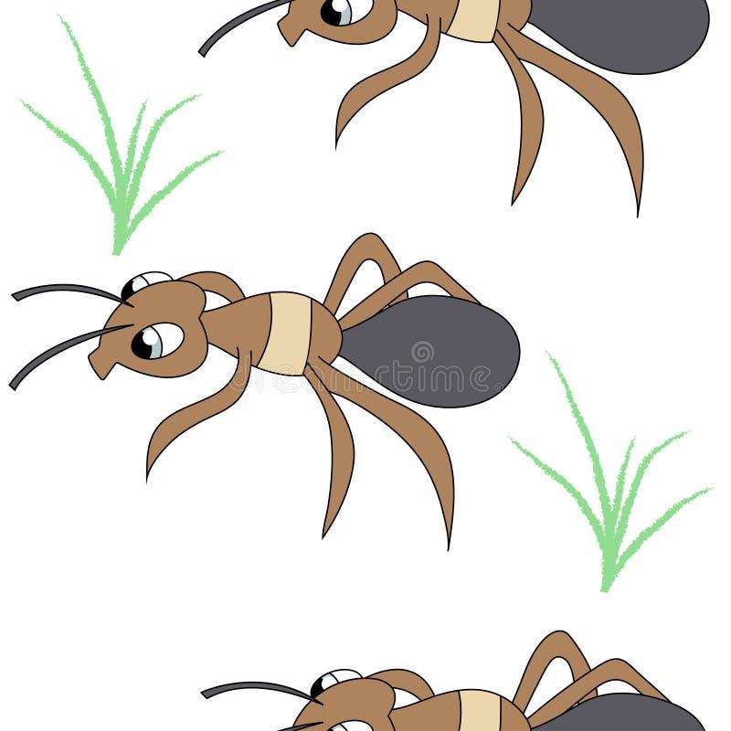逗人喜爱的蚂蚁 无缝的储蓄传染媒介样式 皇族释放例证