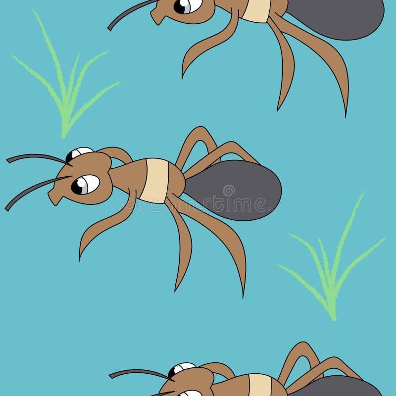 逗人喜爱的蚂蚁 无缝的储蓄传染媒介样式 向量例证
