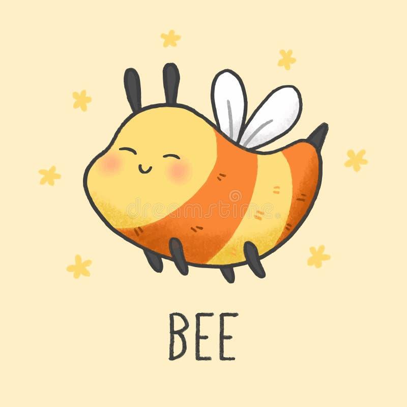 逗人喜爱的蜂动画片手拉的样式 皇族释放例证