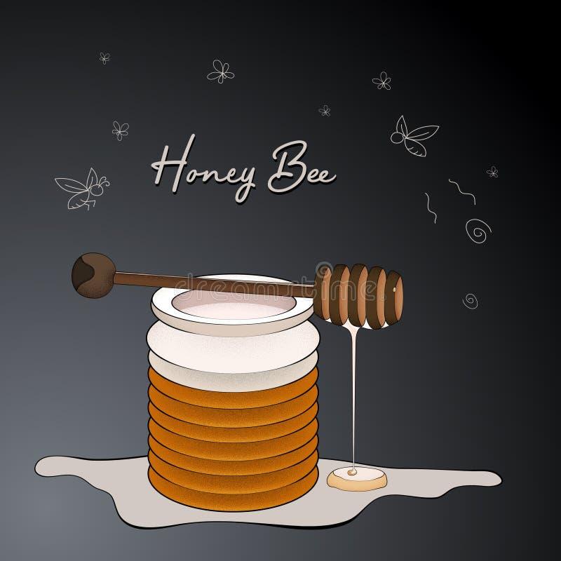 逗人喜爱的蜂蜜蜂例证模板 皇族释放例证