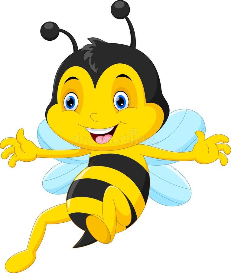 逗人喜爱的蜂蜜蜂动画片飞行 库存例证