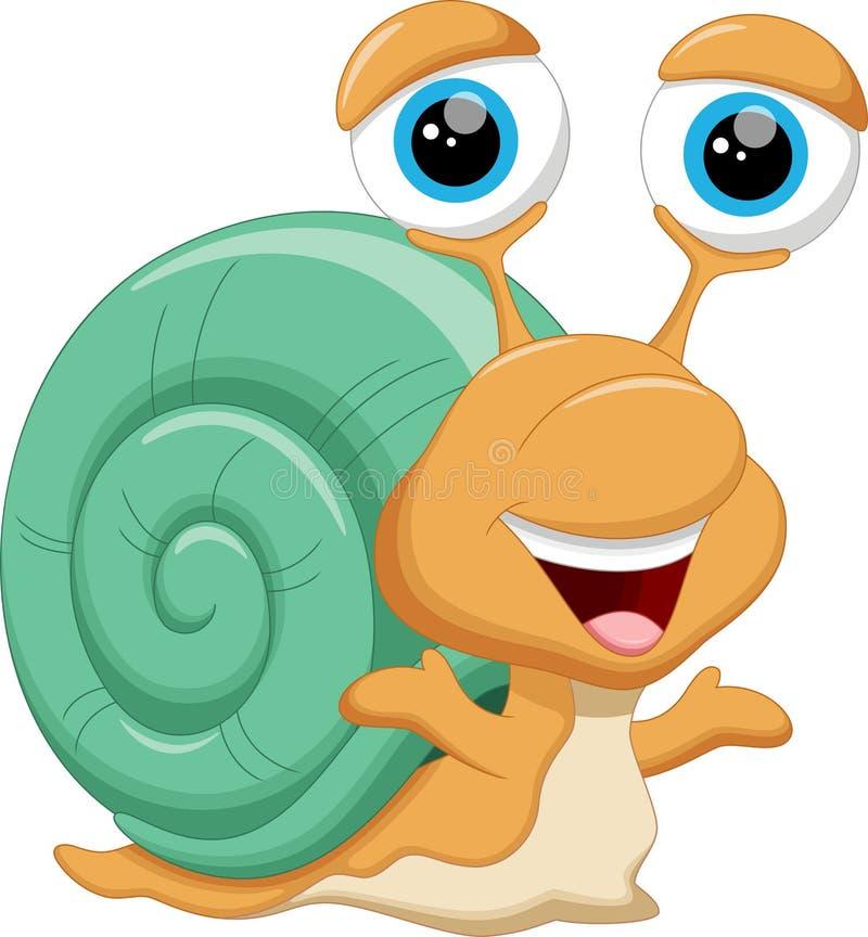 逗人喜爱的蜗牛动画片 库存例证