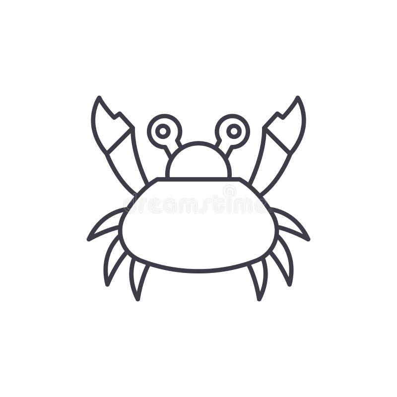 逗人喜爱的螃蟹线象概念 逗人喜爱的螃蟹传染媒介线性例证,标志,标志 皇族释放例证