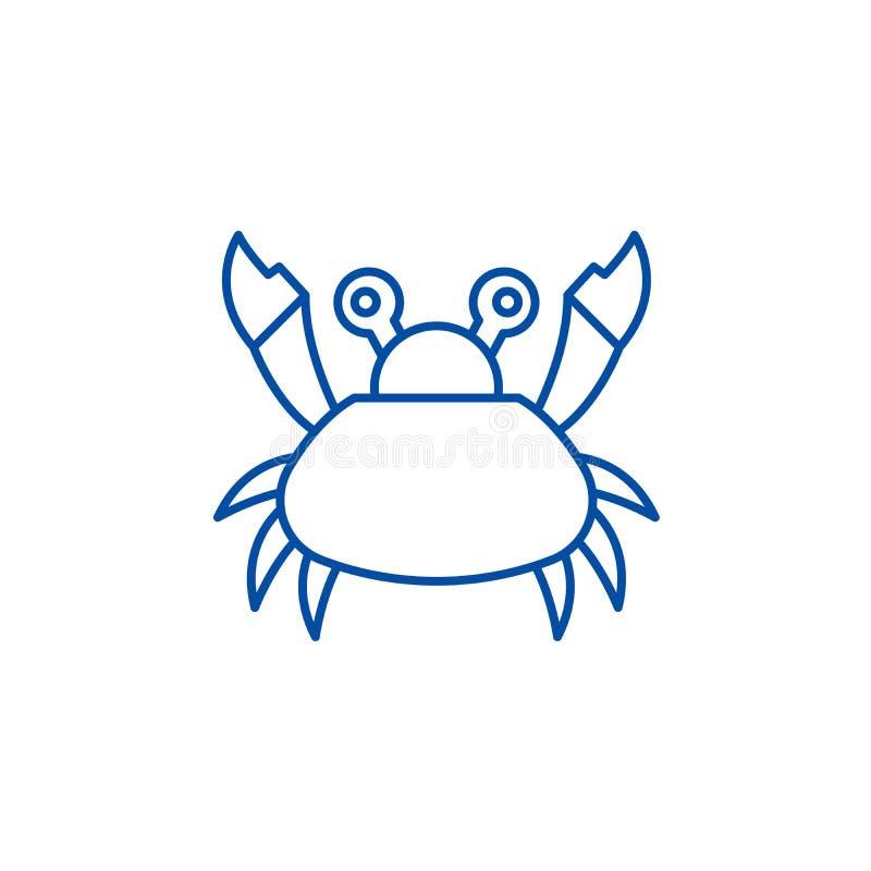 逗人喜爱的螃蟹线象概念 逗人喜爱的螃蟹平的传染媒介标志,标志,概述例证 向量例证