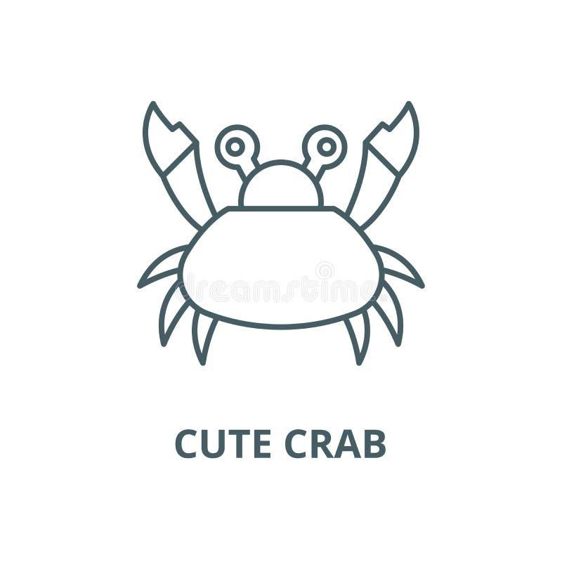 逗人喜爱的螃蟹线象,传染媒介 逗人喜爱的螃蟹概述标志,概念标志,平的例证 向量例证