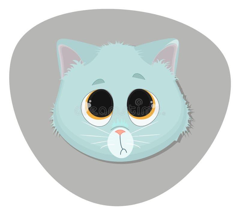 逗人喜爱的表面小猫 动画片平的例证 免版税图库摄影