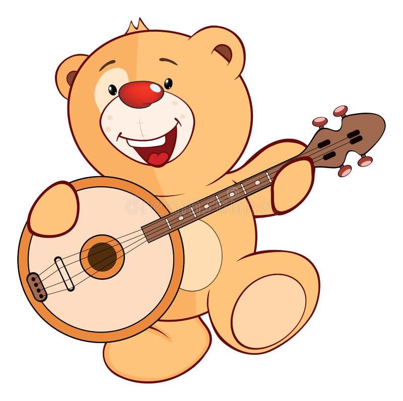 逗人喜爱的被充塞的玩具小熊动画片 库存例证