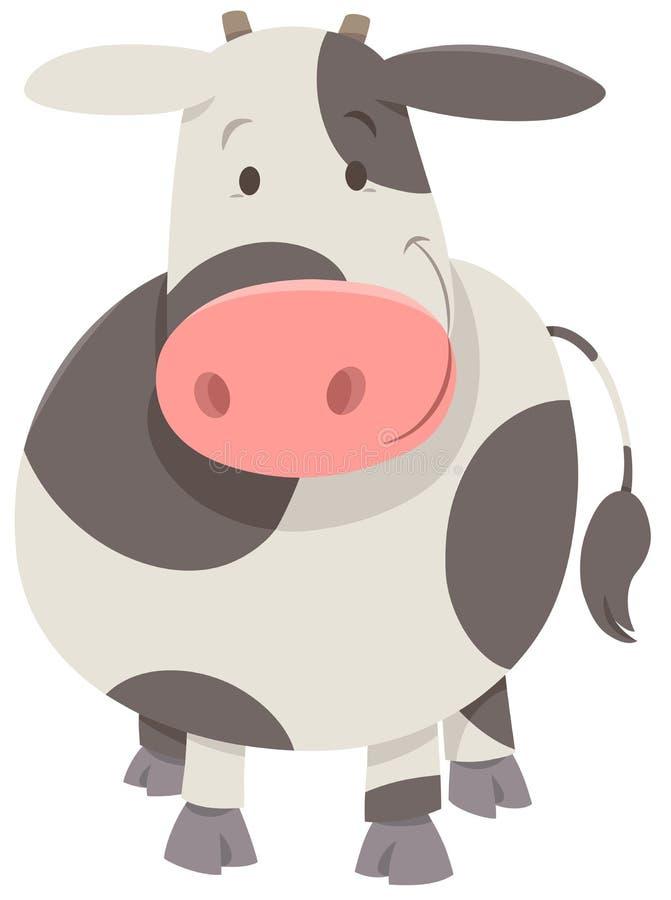 逗人喜爱的被察觉的母牛或小牛 库存例证