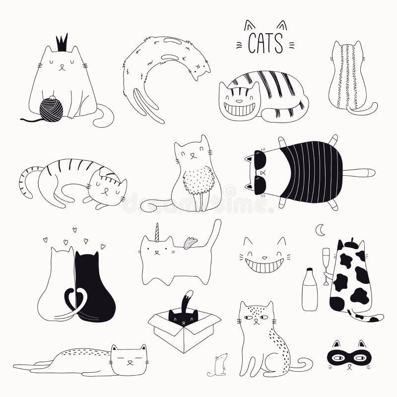 逗人喜爱的被设置的猫黑白乱画 皇族释放例证