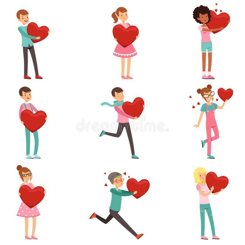 逗人喜爱的被迷恋的人字符在手上设置了与纸红色心脏 为华伦泰s天做准备 在白色的平的传染媒介 皇族释放例证