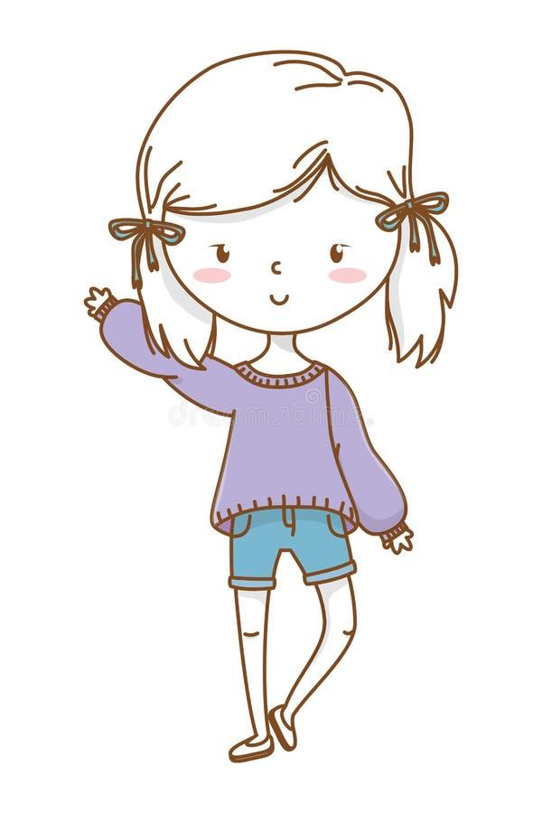 逗人喜爱的被隔绝的女孩动画片时髦的成套装备 皇族释放例证