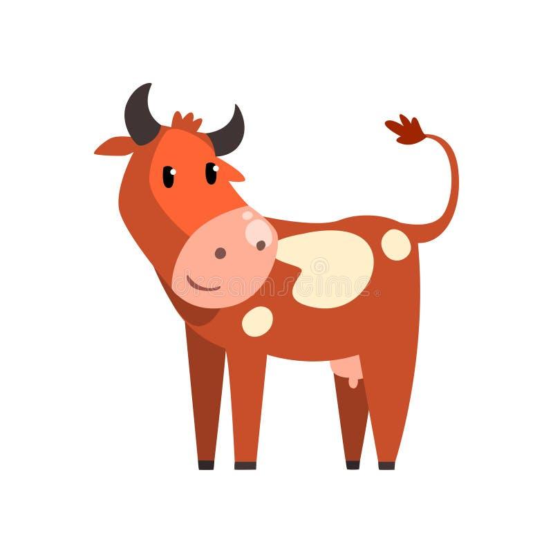 逗人喜爱的褐色察觉了母牛,在白色背景的Funny农场动物漫画人物传染媒介例证 皇族释放例证