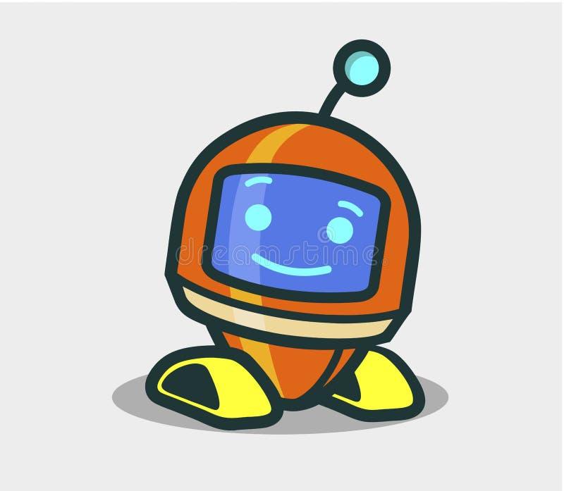逗人喜爱的设计的机器人生气蓬勃的字符 向量例证