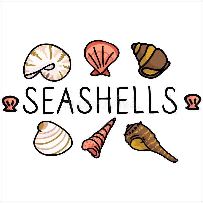 逗人喜爱的贝壳文本动画片例证主题集合 手拉的被隔绝的海洋生物元素 海洋文本博克的Clipart, 向量例证