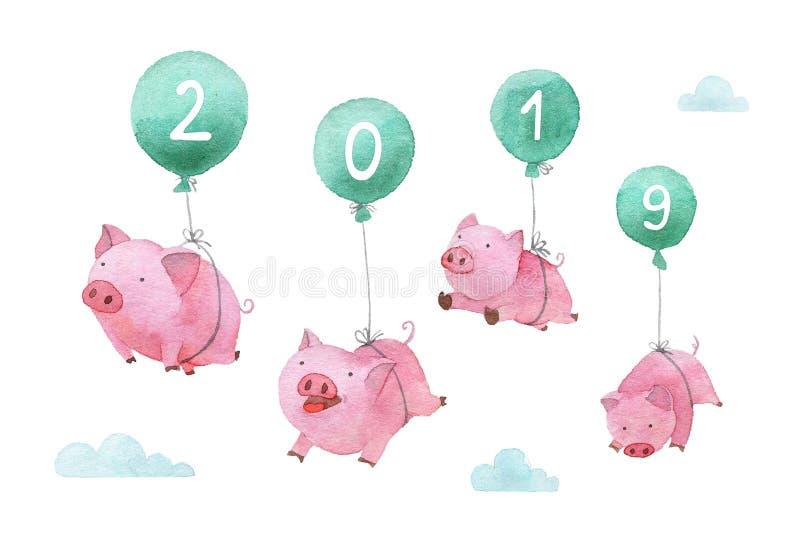 逗人喜爱的贪心手画水彩例证 飞行在横跨天空的气球的四头猪 新年的标志2019年 向量例证