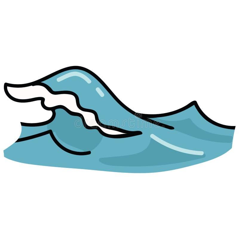 逗人喜爱的起泡沫的海浪动画片传染媒介例证主题集合 水生博克的手拉的被隔绝的船舶元素clipart, 库存例证