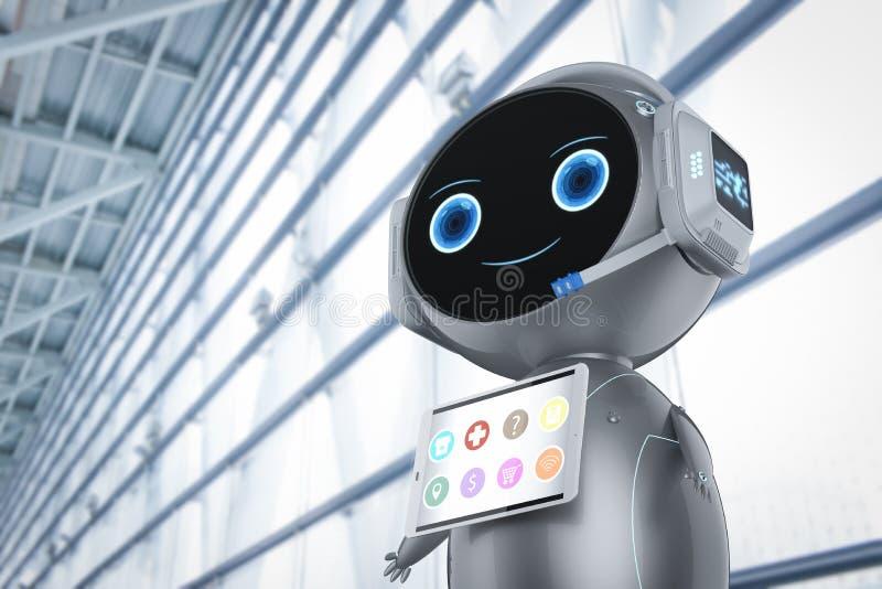 逗人喜爱的辅助机器人 向量例证