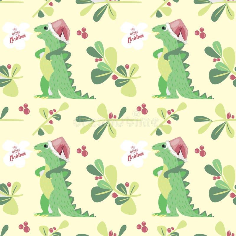 逗人喜爱的迪诺愿望有您非常圣诞快乐 假日无缝的样式好为纺织品和包装纸 向量例证