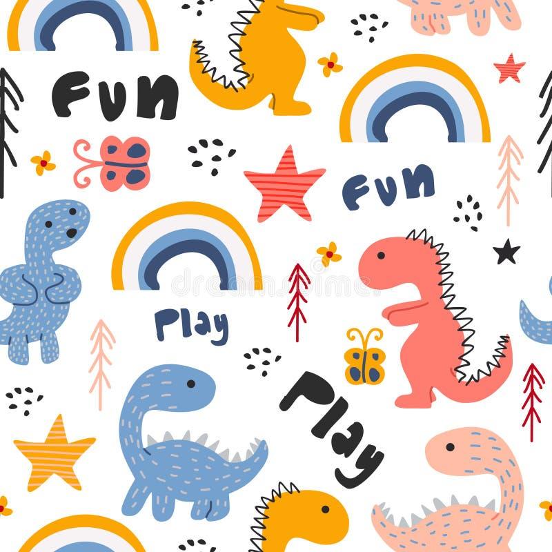 逗人喜爱的迪诺手拉的无缝的样式幼稚图画五颜六色的背景 向量例证
