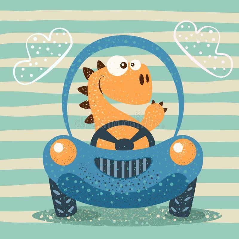 逗人喜爱的迪诺推进滑稽的汽车 向量例证
