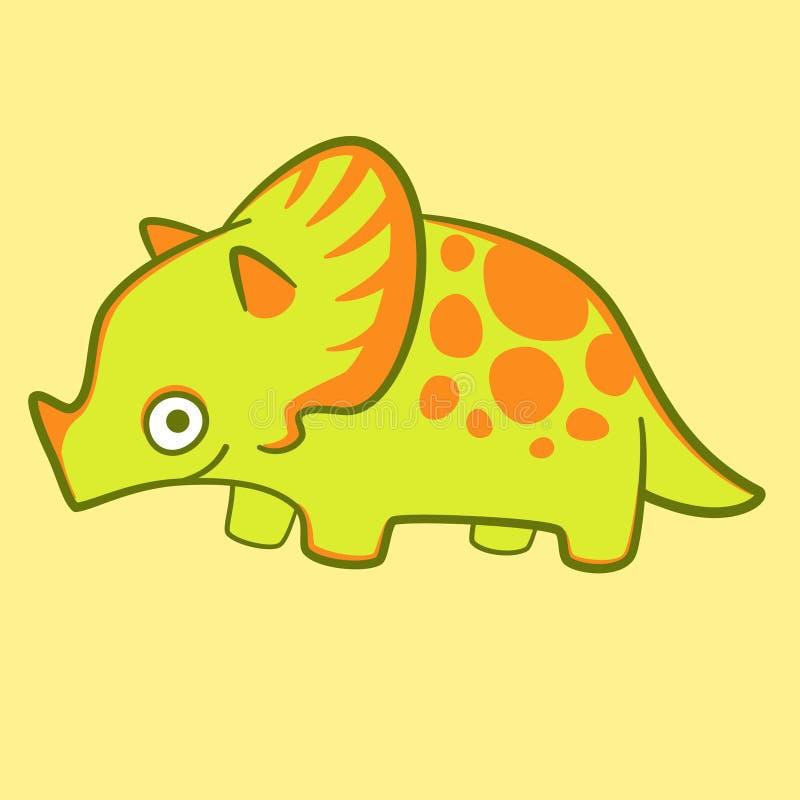 逗人喜爱的迪诺隔绝了传染媒介,平的例证 动画片小托儿所的恐龙海报 滑稽的三角恐龙 皇族释放例证
