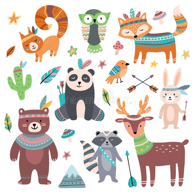 逗人喜爱的部族动物 森林野生动物动物园、tribals鸟羽毛箭头和wilds野兽被隔绝的动画片集合 库存例证