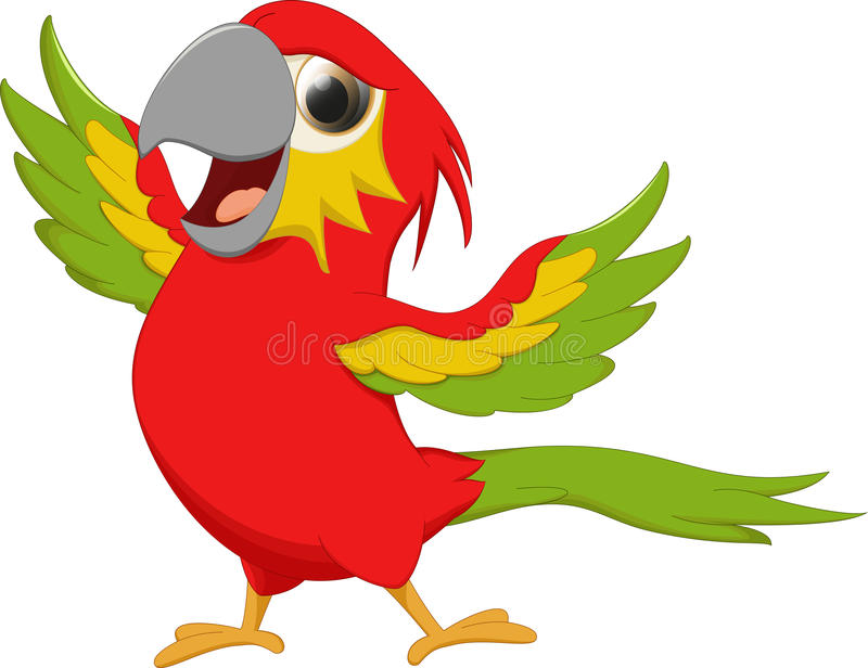 逗人喜爱的金刚鹦鹉鸟动画片 向量例证