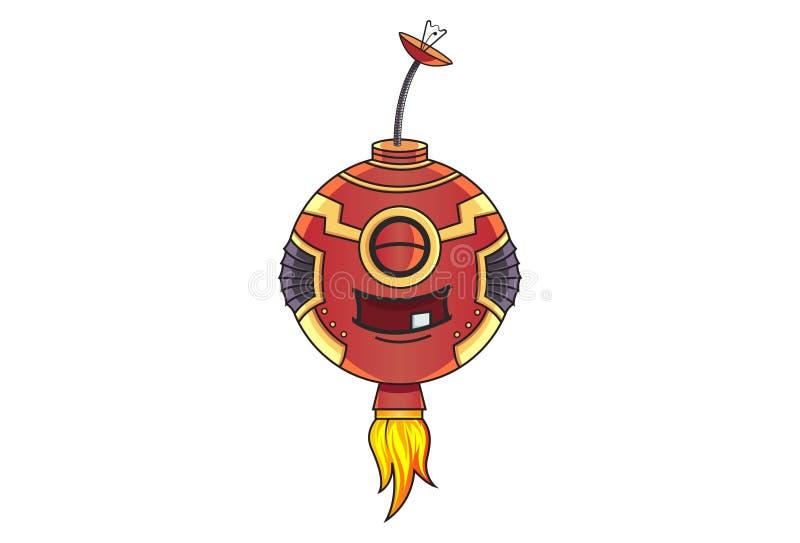 逗人喜爱的铁机器人的动画片例证 皇族释放例证
