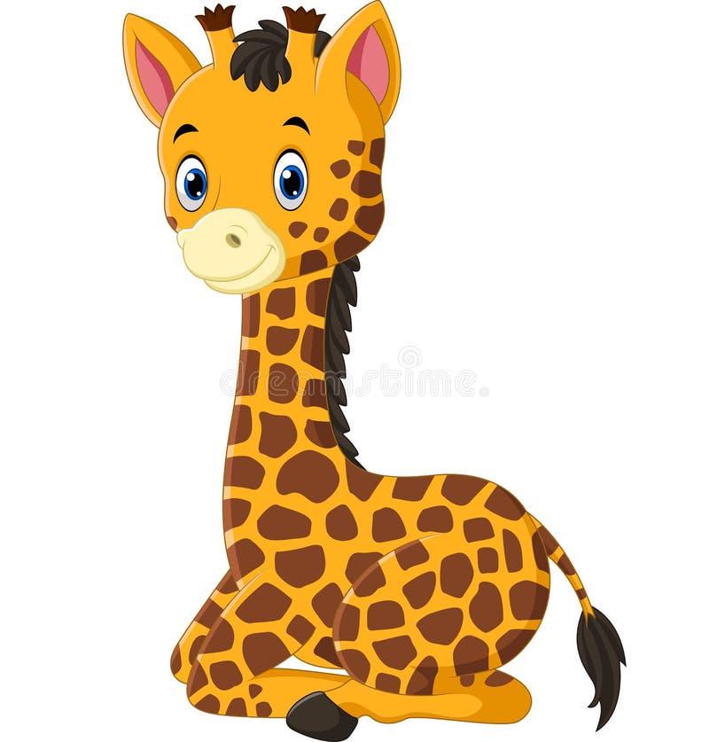 逗人喜爱的长颈鹿动画片 库存例证