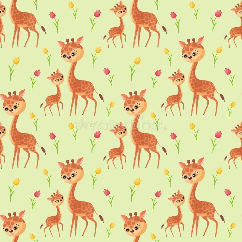 逗人喜爱的长颈鹿家庭无缝的样式 皇族释放例证