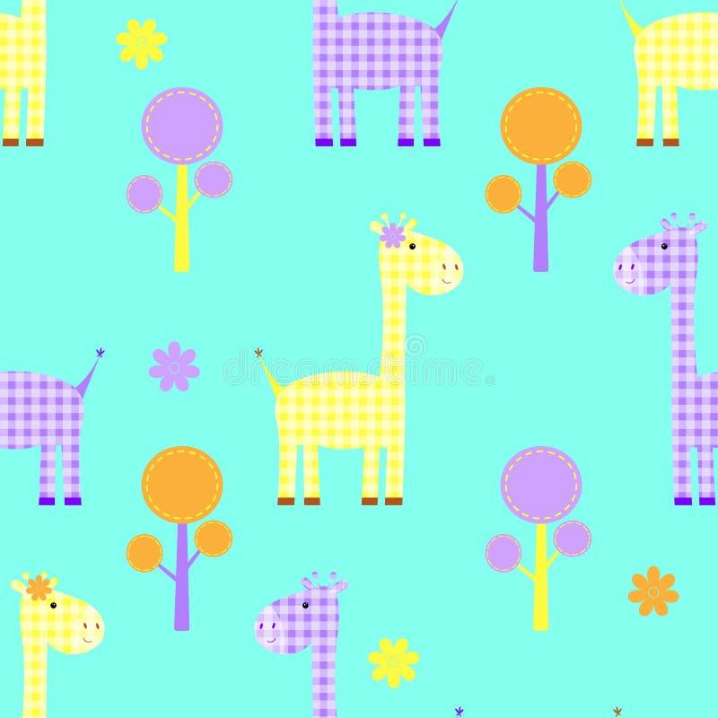 逗人喜爱的长颈鹿无缝的纯稚样式 库存例证