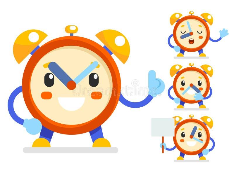 逗人喜爱的闹钟儿童断续装置孩子字符象符号集隔绝了平的设计传染媒介例证 库存例证