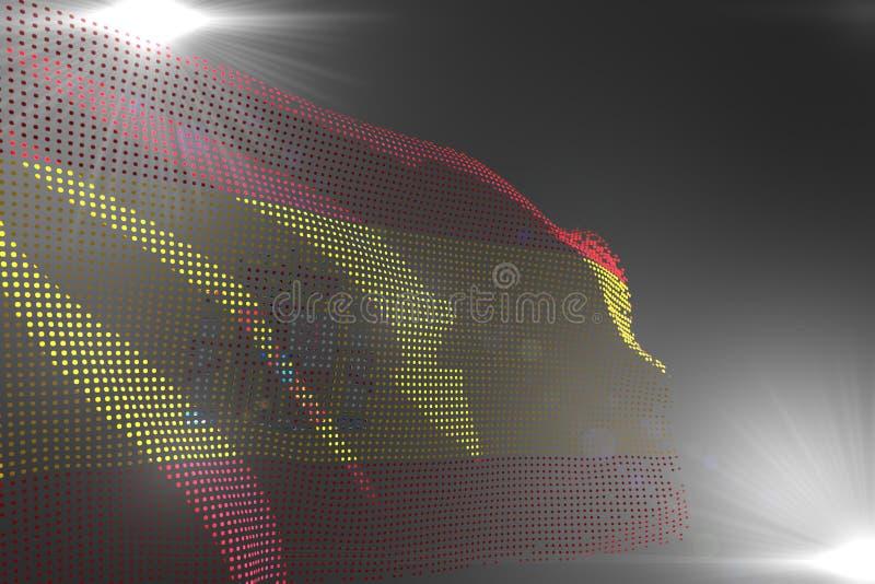 逗人喜爱的阵亡将士纪念日旗子3d例证-西班牙旗子的高科技图象挥动做了的小点在灰色与您的文本 皇族释放例证
