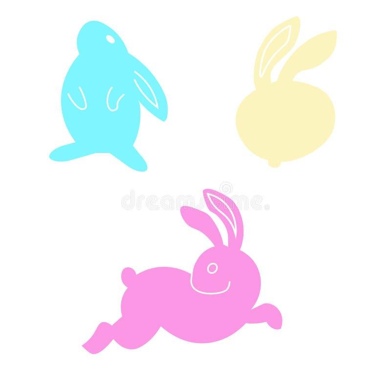 逗人喜爱的集合颜色复活节兔子 在背景隔绝的例证 库存例证
