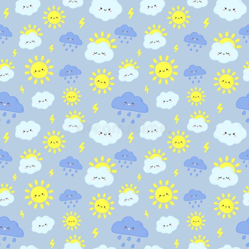 逗人喜爱的雨天空样式 微笑的愉快的太阳、雷云与闪电和下雨天云彩无缝的传染媒介例证 库存例证