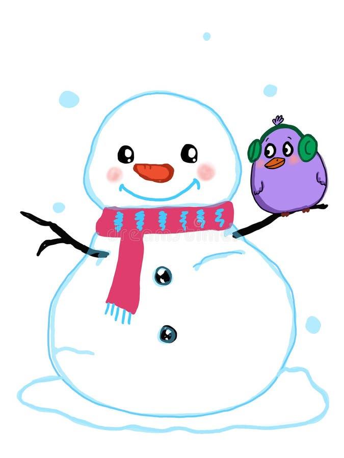逗人喜爱的雪人和鸟例证动画片画的白色背景 皇族释放例证