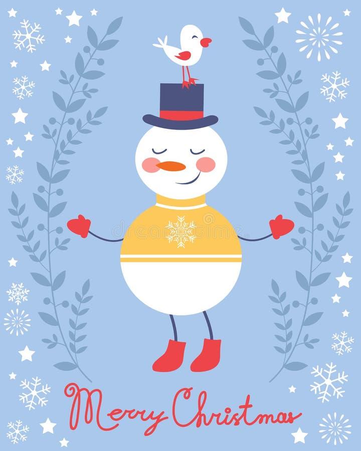 逗人喜爱的雪人和鸟圣诞卡 库存例证