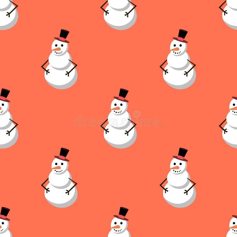 逗人喜爱的雪人圣诞快乐无缝的样式背景,在减速火箭的样式的假日装饰 平的设计 皇族释放例证