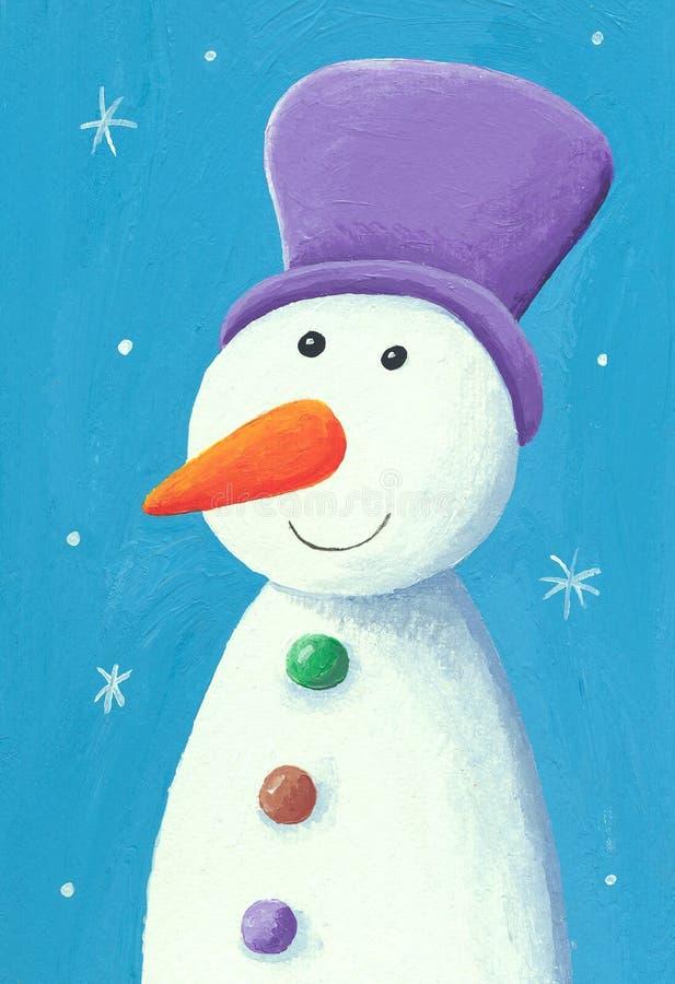 与紫色罐的逗人喜爱的雪人 库存例证