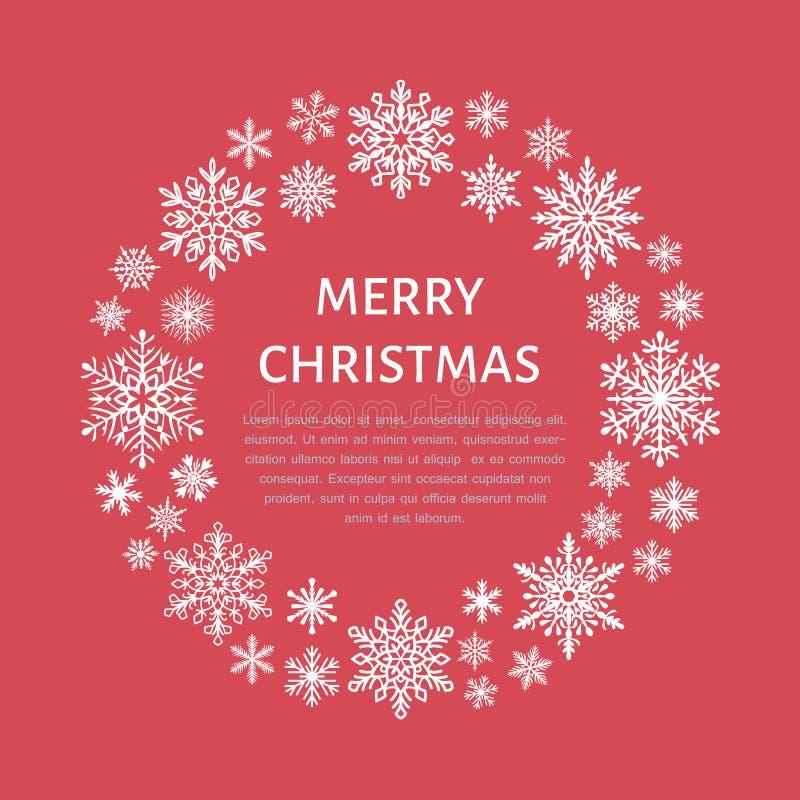 逗人喜爱的雪花海报,横幅 季节问候 平的雪象,降雪 圣诞节横幅的好的雪花,卡片 新年度 向量例证