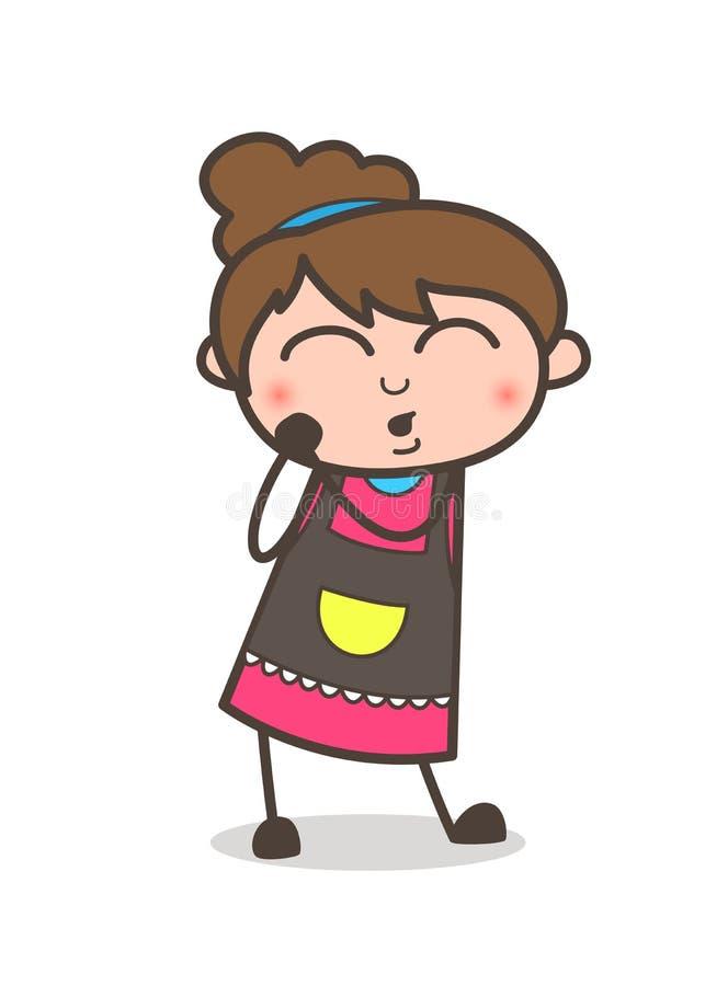 逗人喜爱的雾浊的表示-美容师女孩艺术家动画片传染媒介 库存例证
