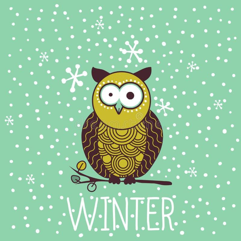 逗人喜爱的震惊动画片猫头鹰在冬天 皇族释放例证