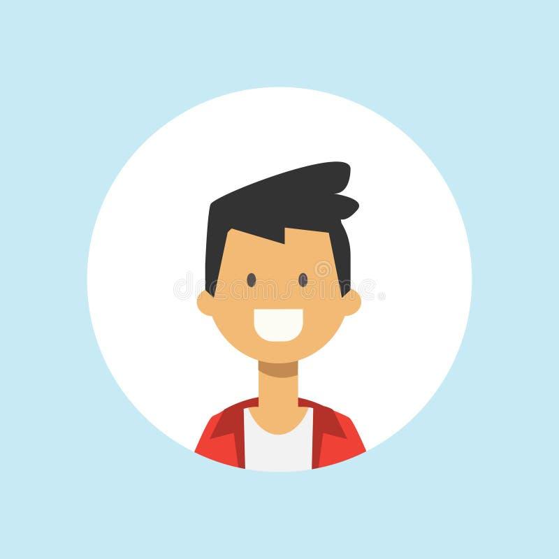 逗人喜爱的青少年的在蓝色背景,平男性的具体化的人面孔愉快的男孩画象 库存例证