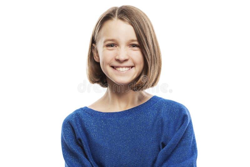 逗人喜爱的青少年的女孩笑,关闭 库存照片